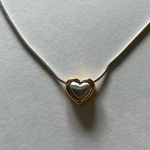 🤍SOLD🤍 Dainty Silver Gold Toned Heart Necklace